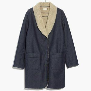 MADEWELL Sherpa Bonded Denim Cocoon Coat MED NEW